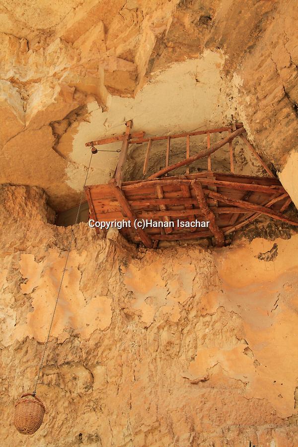 Judean Desert, a cave at the Greek Orthodox St. George of Koziba Monastery on the slope of Wadi Qelt