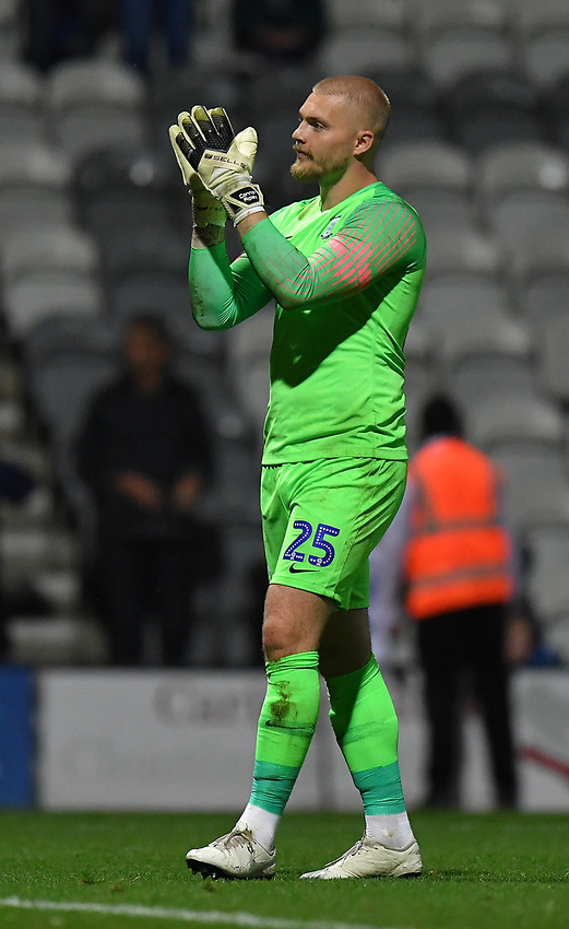 Preston North End's Connor Ripley<br /> <br /> Photographer Dave Howarth/CameraSport<br /> <br /> The Carabao Cup Second Round - Preston North End v Hull City - Tuesday 27th August 2019  - Deepdale Stadium - Preston<br />  <br /> World Copyright © 2019 CameraSport. All rights reserved. 43 Linden Ave. Countesthorpe. Leicester. England. LE8 5PG - Tel: +44 (0) 116 277 4147 - admin@camerasport.com - www.camerasport.com