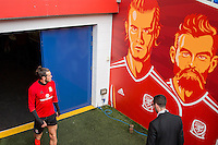 Gareth Bale walks out of the tunnel area for Wales training ahead of the World Cup 2018 qualification match against Moldova at Cardiff City Stadium, Cardiff, Wales on 4 September 2016. Photo by Mark  Hawkins / PRiME Media Images.