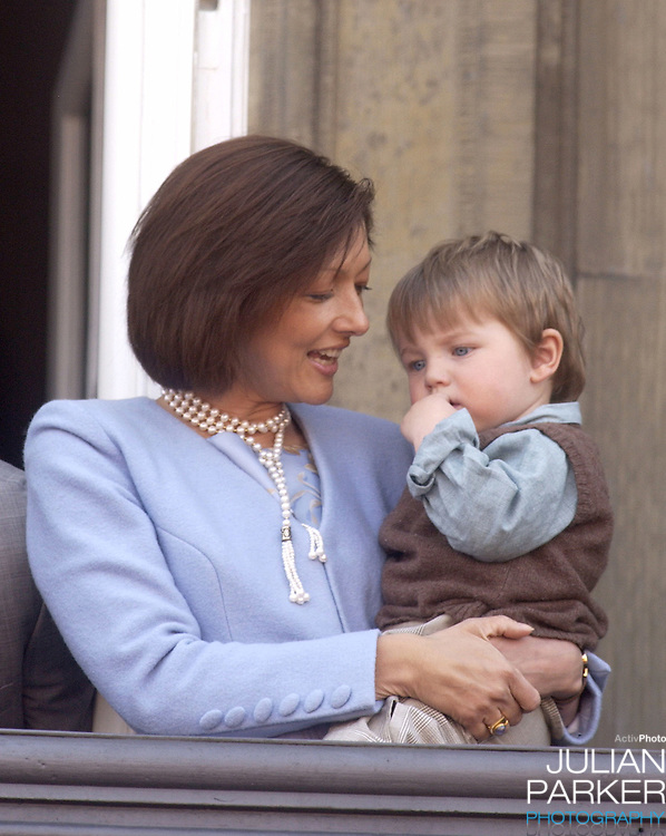 Princess Alexandra & Prince Felix appear on the balcony of The Amalienborg Palace in Copenhagen to celebrate The Queen of Denmark's 64th birthday..