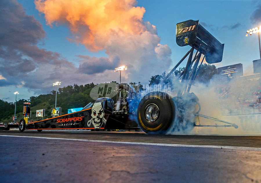 Jun 16, 2017; Bristol, TN, USA; NHRA top fuel driver Mike Salinas during qualifying for the Thunder Valley Nationals at Bristol Dragway. Mandatory Credit: Mark J. Rebilas-USA TODAY Sports