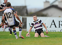 30th November 2013; Kevin O'Neill, Terenure, scores his side's fifth try. Ulster Bank League Division 1B, Corinthians v Terenure, Corinthian Park, Galway. Picture credit: Tommy Grealy/actionshots.ie.