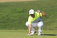 Lucas Bjerregaard (DEN) on the 10th green during Thursday's Round 1 of the 2016 Portugal Masters held at the Oceanico Victoria Golf Course, Vilamoura, Algarve, Portugal. 19th October 2016.<br /> Picture: Eoin Clarke | Golffile<br /> <br /> <br /> All photos usage must carry mandatory copyright credit (&copy; Golffile | Eoin Clarke)