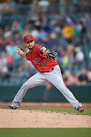 Louisville Bats relief pitcher Jesus Reyes (16) in action against the Charlotte Hornets at BB&T BallPark on June 22, 2019 in Charlotte, North Carolina. The Hornets defeated the Bats 7-6. (Brian Westerholt/Four Seam Images)
