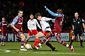 Luke Freeman of Stevenage (on loan from Arsenal) is tackled by Lucas Akins of Tranmere. - Stevenage v Tranmere Rovers - npower League 1 - Lamex Stadium, Stevenage - 17th December 2011  .© Kevin Coleman 2011 ... ....  ...  . .