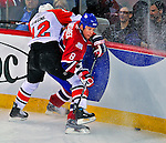 18 December 2008: Montreal Canadiens' defenseman Mike Komisarek is checked by Philadelphia Flyers' left wing forward Simon Gagne during the first period at the Bell Centre in Montreal, Quebec, Canada. The Canadiens, trying to avoid a four-game slide, defeated the Flyers 5-2, thus ending Philadelphia's 5-game winning streak. ***** Editorial Sales Only ***** Mandatory Photo Credit: Ed Wolfstein Photo
