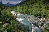 Arrigetch Creek flows through arctic valley in the Arrigetch Peaks region of the Brooks Range at Gates of the Arctic National Park, Alaska, TomBean_Pix_0727.