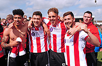 Lincoln City's Josh Ginnelly, Sean Long, Callum Howe and Jonny Margetts celebrate promotion<br /> <br /> Photographer Andrew Vaughan/CameraSport<br /> <br /> Vanarama National League - Lincoln City v Macclesfield Town - Saturday 22nd April 2017 - Sincil Bank - Lincoln<br /> <br /> World Copyright &copy; 2017 CameraSport. All rights reserved. 43 Linden Ave. Countesthorpe. Leicester. England. LE8 5PG - Tel: +44 (0) 116 277 4147 - admin@camerasport.com - www.camerasport.com