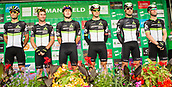 6th September 2017, Mansfield, England; OVO Energy Tour of Britain Cycling; Stage 4, Mansfield to Newark-On-Trent;  The Dimension Data team pose for photos after registration sign-in at Mansfield