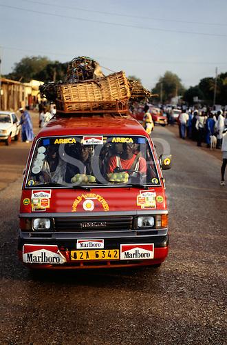 Banjul, The Gambia. Mazda taxi minibus in the market.