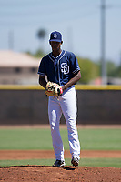 San Diego Padres pitcher Henry Henry (28) prepares to deliver a pitch to the plate during an Instructional League game against the Texas Rangers on September 20, 2017 at Peoria Sports Complex in Peoria, Arizona. (Zachary Lucy/Four Seam Images)