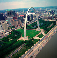An aerial view of the St. Louis Arch and cityscape.