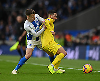 Brighton & Hove Albion's Solly March (left) battles with Chelsea's Eden Hazard (right) <br /> <br /> Photographer David Horton/CameraSport<br /> <br /> The Premier League - Brighton and Hove Albion v Chelsea - Sunday 16th December 2018 - The Amex Stadium - Brighton<br /> <br /> World Copyright © 2018 CameraSport. All rights reserved. 43 Linden Ave. Countesthorpe. Leicester. England. LE8 5PG - Tel: +44 (0) 116 277 4147 - admin@camerasport.com - www.camerasport.com
