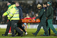 Callum Kennedy of Leyton Orient (3) is stretchered off during the Sky Bet League 2 match between Wycombe Wanderers and Leyton Orient at Adams Park, High Wycombe, England on 17 December 2016. Photo by David Horn / PRiME Media Images.