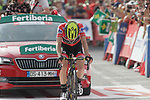 Race leader Red Jersey Simon Yates (GBR) Mitchelton-Scott crosses the finish line at the end of Stage 19 of the La Vuelta 2018, running 154.4km from Lleida to Andorra, Naturlandia, Andorra. 14th September 2018.                   <br /> Picture: Colin Flockton | Cyclefile<br /> <br /> <br /> All photos usage must carry mandatory copyright credit (© Cyclefile | Colin Flockton)