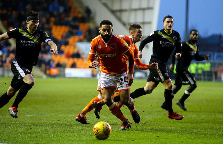 Blackpool's Liam Feeney chases a pass<br /> <br /> Photographer Alex Dodd/CameraSport<br /> <br /> The EFL Sky Bet League One - Blackpool v Shrewsbury Town - Saturday 19 January 2019 - Bloomfield Road - Blackpool<br /> <br /> World Copyright &copy; 2019 CameraSport. All rights reserved. 43 Linden Ave. Countesthorpe. Leicester. England. LE8 5PG - Tel: +44 (0) 116 277 4147 - admin@camerasport.com - www.camerasport.com