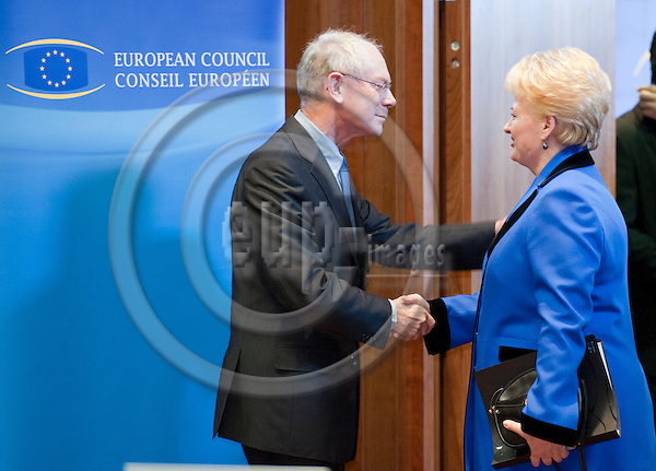 Brussels-Belgium - March 24, 2011 -- European Council, EU-summit with Heads of State / Government; here, Herman Van ROMPUY (le), President of the European Council, welcomes Dalia GRYBAUSKAITE (ri), President of Lithuania -- Photo: Horst Wagner / eup-images