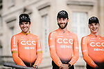 Greg Van Avermaet (BEL) and CCC Team at the team presentations in Compiegne before Paris-Roubaix 2019, Compuiegne, France. 13th April 2019<br /> Picture: ASO/Pauline Ballet | Cyclefile<br /> All photos usage must carry mandatory copyright credit (&copy; Cyclefile | ASO/Pauline Ballet)
