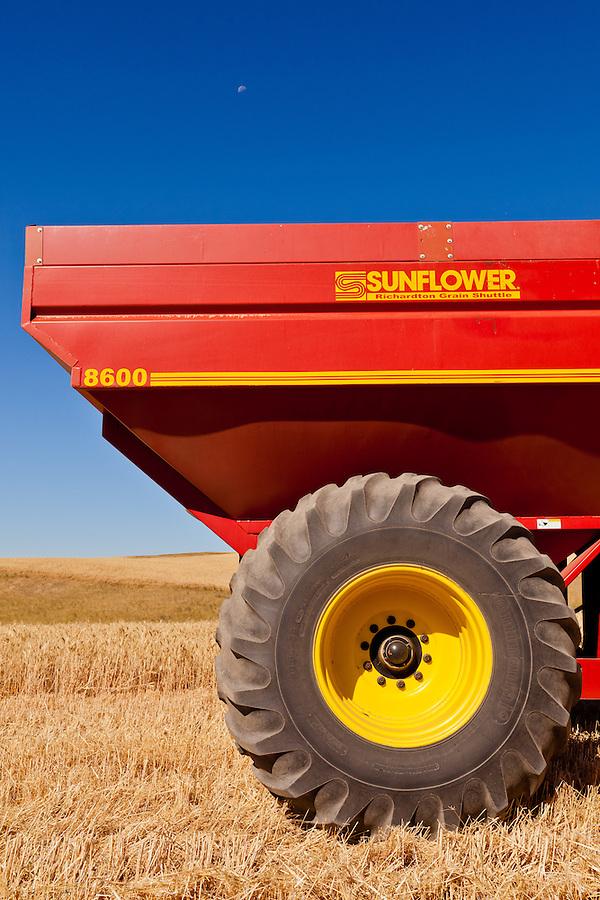 A Sunflower branded grain trailer.