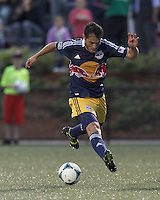 New York Red Bulls forward Fabian Espindola (9) controls the ball. 2013 Lamar Hunt U.S Open Cup fourth round, New England Revolution (white) defeated New York Red Bulls (blue/yellow), 4-2, at Harvard University's Soldiers Field Soccer Stadium on June 12, 2013.