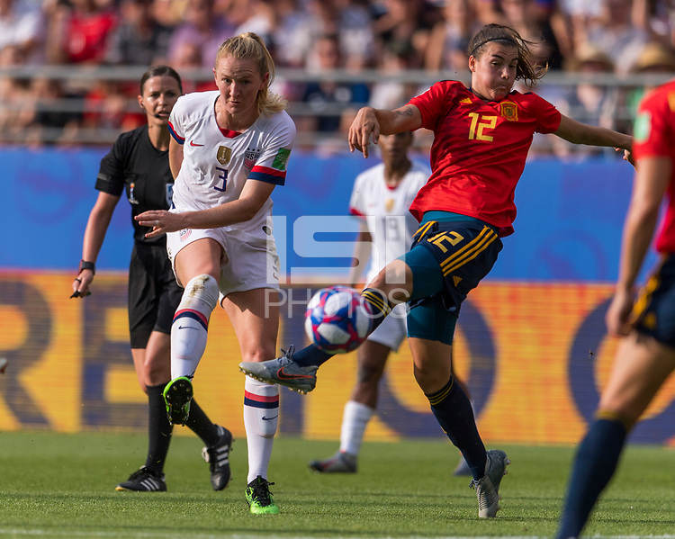 REIMS,  - JUNE 24: Sam Mewis #3 shoots past Patri Guijarro #12 during a game between NT v Spain and  at Stade Auguste Delaune on June 24, 2019 in Reims, France.