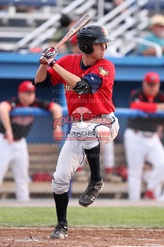 State College Spikes shortstop Kirk Singer #3 during a game against the Batavia Muckdogs at Dwyer Stadium on July 7, 2011 in Batavia, New York.  Batavia defeated State College 16-3.  (Mike Janes/Four Seam Images)