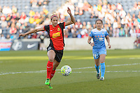 Bridgeview, IL, USA - Saturday, April 23, 2016: Western New York Flash forward Lynn Williams (9) during a regular season National Women's Soccer League match between the Chicago Red Stars and the Western New York Flash at Toyota Park. Chicago won 1-0.