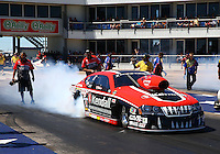 Sept. 21, 2013; Ennis, TX, USA: NHRA pro stock driver V. Gaines during the Fall Nationals at the Texas Motorplex. Mandatory Credit: Mark J. Rebilas-