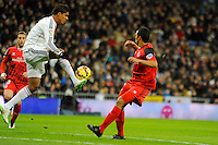Real Madrid´s Raphael Varane during 2014-15 La Liga match between Real Madrid and Sevilla at Santiago Bernabeu stadium in Alcorcon, Madrid, Spain. February 04, 2015. (ALTERPHOTOS/Luis Fernandez) /NORTEphoto.com