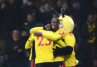 1st January 2020; Vicarage Road, Watford, Hertfordshire, England; English Premier League Football, Watford versus Wolverhampton Wanderers; Gerard Deulofeu of Watford celebrates with his team on scoring in 29th minute for 1-0 - Strictly Editorial Use Only. No use with unauthorized audio, video, data, fixture lists, club/league logos or 'live' services. Online in-match use limited to 120 images, no video emulation. No use in betting, games or single club/league/player publications