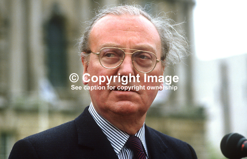George Scott, EEC representative, London, UK, photographed during visit to Belfast, N Ireland, 19850506GS2..Copyright Image from Victor Patterson, 54 Dorchester Park, Belfast, UK, BT9 6RJ..Tel: +44 28 9066 1296.Mob: +44 7802 353836.Voicemail +44 20 8816 7153.Skype: victorpattersonbelfast.Email: victorpatterson@me.com.Email: victorpatterson@ireland.com (back-up)..IMPORTANT: If you wish to use this image or any other of my images please go to www.victorpatterson.com and click on the Terms & Conditions. Then contact me by email or phone with the reference number(s) of the image(s) concerned.