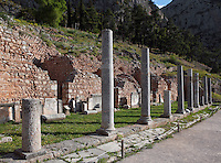 DELPHI, GREECE - APRIL 12 : A general view of the northern portico of the Roman Agora with a line of shops in the background, on April 12, 2007 in the Sanctuary of Apollo, Delphi, Greece. The Roman Agora was built in the 4th century AD and is used as a storage of antiquities for the archaeological site. (Photo by Manuel Cohen)