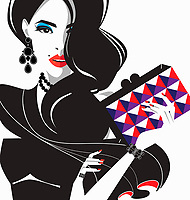 Glamorous fashion model with patterned clutch bag