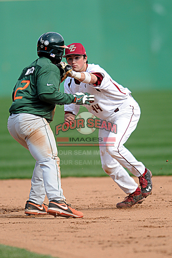 Boston College Eagles infielder Joe Cronin #44  during a game versus the Miami Hurricanes at Shea Field in Chestnut Hill, Massachusetts on April 26, 2013.  (Ken Babbitt/Four Seam Images)