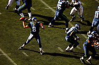 Sep 18, 2005; Seattle, WA, USA; Seattle Seahawks quarterback Matt Hasselbeck #8 passes the ball against the Atlanta Falcons in the fourth quarter at Qwest Field. Mandatory Credit: Photo By Mark J. Rebilas