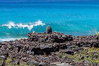 Stone shrine altar along the ocean in Kailua-Kona, Big Island, Hawaii