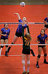 RAPID CITY, SD: NOVEMBER 18:  Laurie Rogers #13 of Warner attempts a kill shot over Northwestern blocker Sydney Schell #12 during the 2017 South Dakota State Class B Volleyball Championship Saturday evening at Barnett Arena in Rapid City, S.D.   (Photo by Dick Carlson/Inertia)