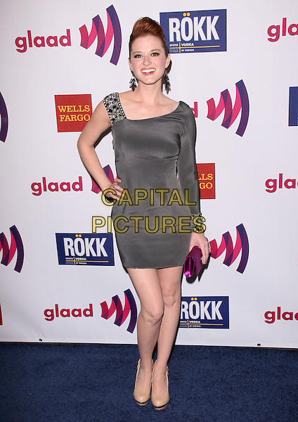 SARAH DREW .at The 22nd Annual Glaad Media Award held at The Westin Bonaventure  in Los Angeles, California, USA, .April 10th 2011..full length hand on hip grey gray one shoulder sleeve dress beaded strap pink clutch bag                                                                .CAP/RKE/DVS.©DVS/RockinExposures/Capital Pictures.