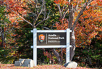 National Park Service sign at the enterence of Acadia, Maine USA