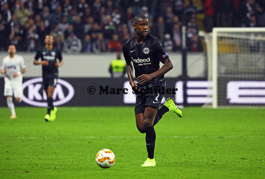 Evan N'Dicka (Eintracht Frankfurt) - 25.10.2018: Eintracht Frankfurt vs. Apollon Limassol FC, Commerzbank Arena, Europa League 3. Spieltag, DISCLAIMER: DFL regulations prohibit any use of photographs as image sequences and/or quasi-video.