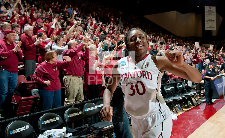 STANFORD, CA - March 21, 2011: Stanford Cardinal's Nnemkadi Ogwumike after Stanford's 75-51 win over St. John's during the second round of the NCAA tournament at Maples Pavilion in Stanford, California.