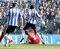 Sheffield Wednesday v Cardiff .Sky Bet Championship ....... Cardiffs Lee peltier scores own goal to give Wednesday a 2-0 lead