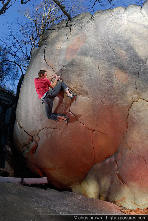 Sam Davis on The Shield (v12) at Little Rock City aka Stone Fort in Chattanooga, TN.