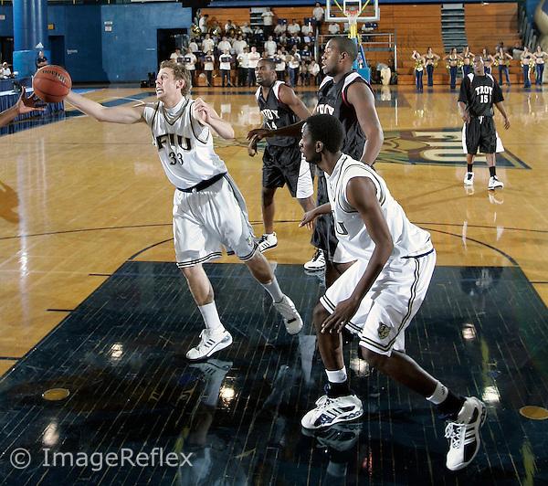 Florida International University Sophomore forward Brad Larson (33) plays against Troy University on February 8, 2007, at Miami, Florida.   Troy won the game 56-49...