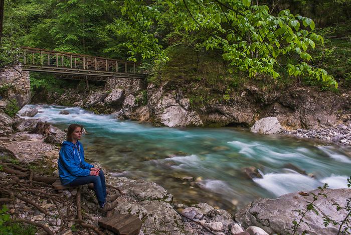 Tourist at Tolminka River, Tolmin Gorges, Triglav National Park (Triglavski Narodni Park), Slovenia, Europe