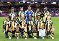 July 31, 2012..Group photograph of RSA Women's Football team before Grroup F match between JPN and RSA at the Millennium Stadium on day four of 2012 Olympic Games in Cardiff, United Kingdom...