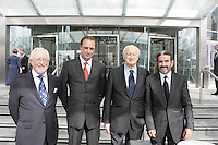 06/09/2010.Dermot Dwyer, Richard Barrett, Architect Kevin Roche, Johnny Ronan. at the opening of the Convention Centre in Spencers Dock,  Dublin..Photo: Gareth Chaney Collins