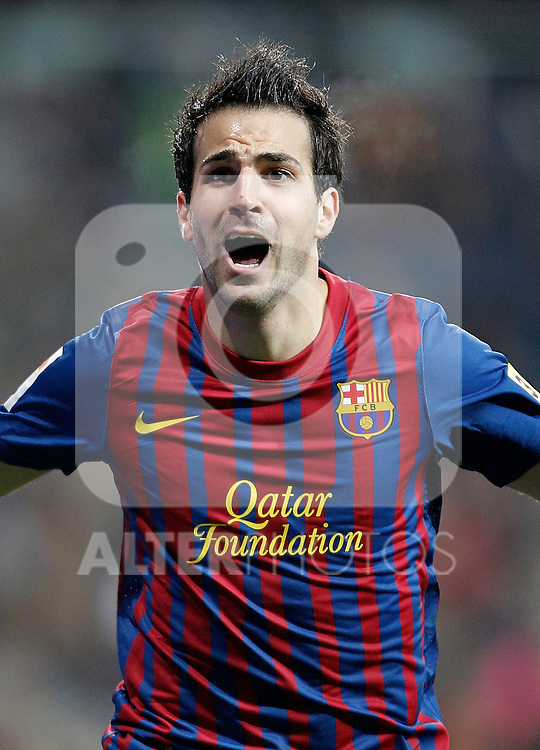 Barcelona's Cesc Fabregas celebrates  during La Liga Match. December 11, 2011. (ALTERPHOTOS/Alvaro Hernandez)
