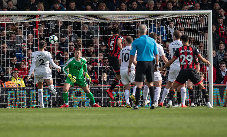Bournemouth's Nathan Ake headers the ball at the Burnley goal<br /> <br /> Photographer David Horton/CameraSport<br /> <br /> The Premier League - Bournemouth v Burnley - Saturday 6th April 2019 - Vitality Stadium - Bournemouth<br /> <br /> World Copyright © 2019 CameraSport. All rights reserved. 43 Linden Ave. Countesthorpe. Leicester. England. LE8 5PG - Tel: +44 (0) 116 277 4147 - admin@camerasport.com - www.camerasport.com