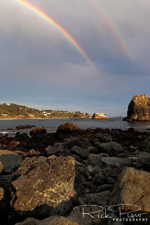 A double rainbow along the Oregon Coast near Brookings, Oregon.